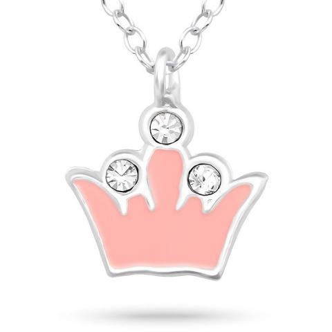 Krona halsband i silver med hängen i silver