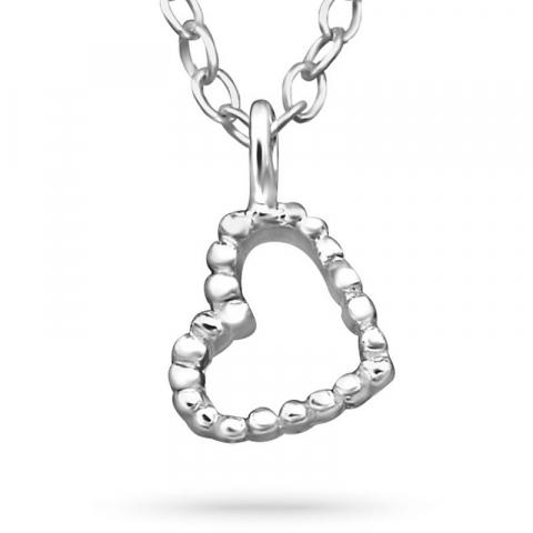 Hjärta halsband i silver med hängen i silver