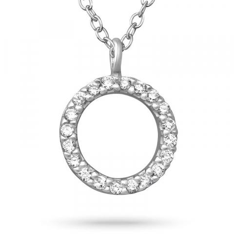 Rund zirkon halsband i silver med hängen i silver