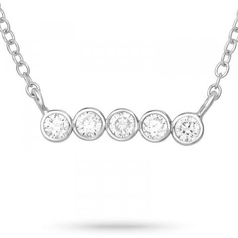 Zirkon halsband i silver med hängen i silver