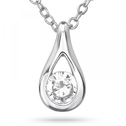 Droppe zirkon halsband i silver med hängen i silver