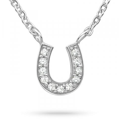 Hästsko zirkon halsband i silver med hängen i silver
