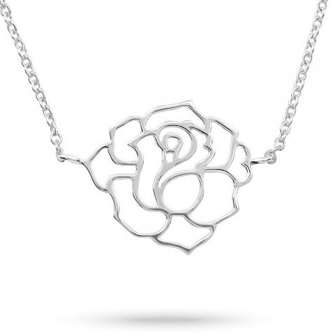 Ros halsband i silver med hängen i silver