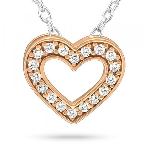 Hjärta zirkon halsband i silver med hängen i rosabelagt silver