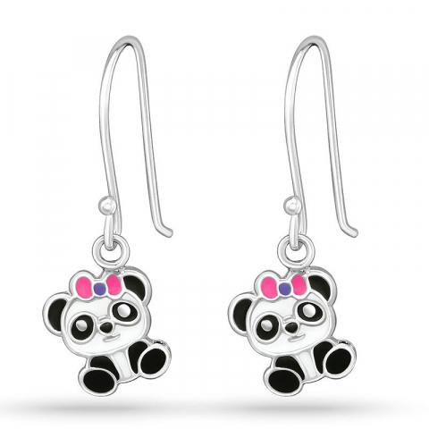 Långa panda örhängen för barn i silver