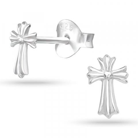 Kryss örhängestift i silver