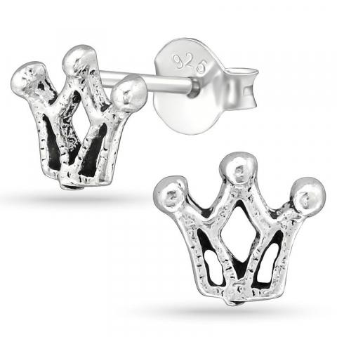 Krona örhängestift i silver