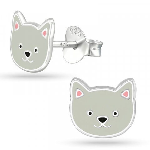 Katter barnörhängen i silver