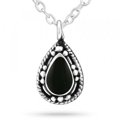 Droppe halsband i silver med hängen i silver