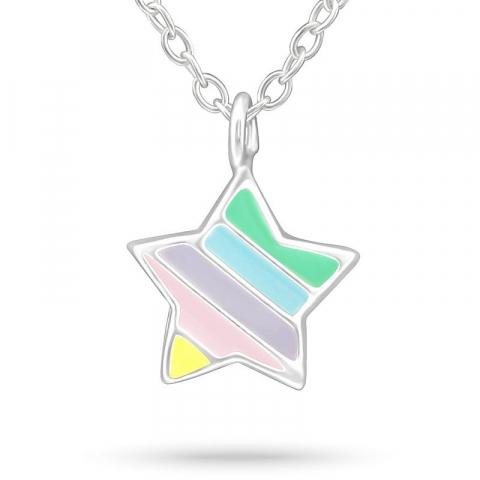 Stjärna halsband i silver med hängen i silver