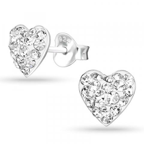 Hjärta kristal örhängestift i silver