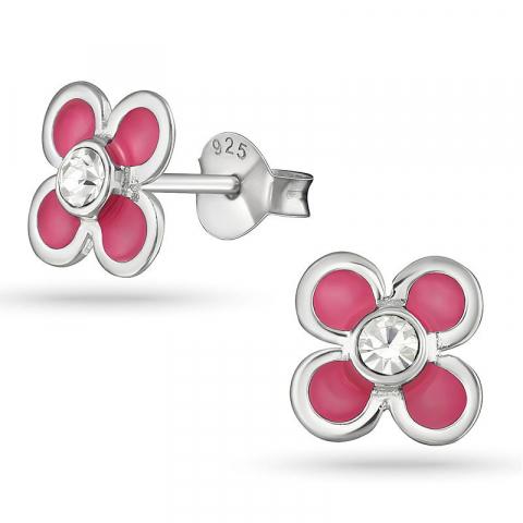Blommor kristal örhängestift i silver
