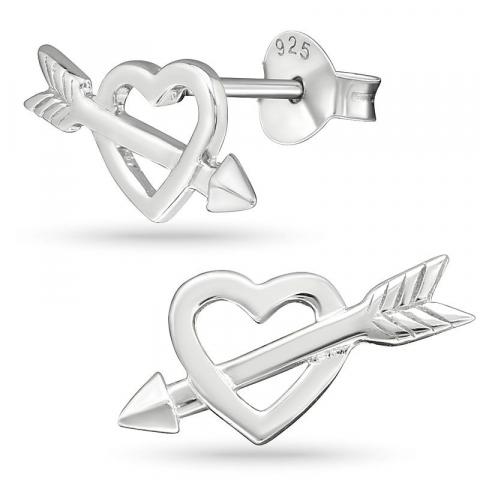 Hjärtan örhängestift i silver