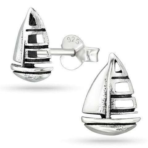 Små skepp örhängestift i silver