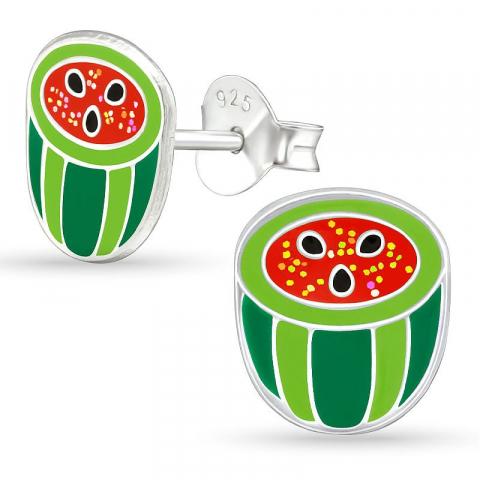 Söta vattenmelon örhängestift i silver