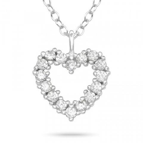 hjärta zirkon halsband i silver med hängen i silver