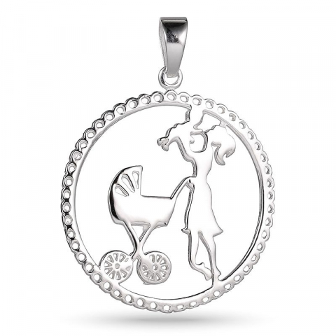 Runt mor och barn hängen i silver