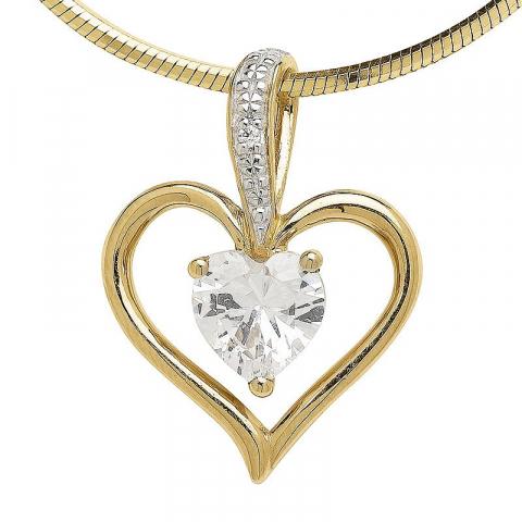 Fint hjärta zirkon hängen i 9 karat guld med rhodium