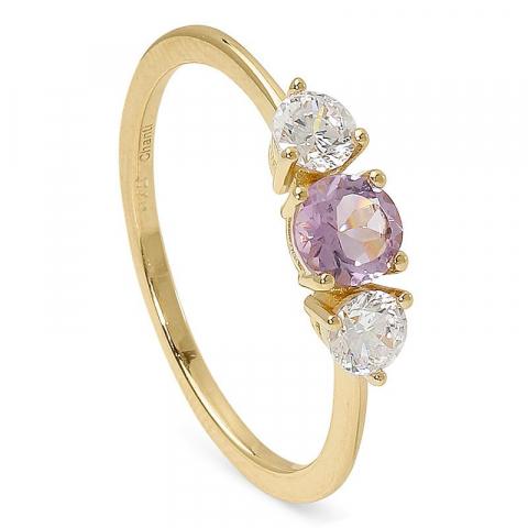Moderna fin ametist ring i 9 karat guld