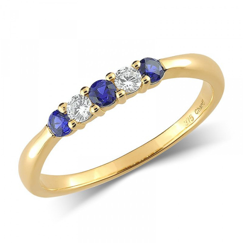 Söt smal blå guld ring i 9 karat guld