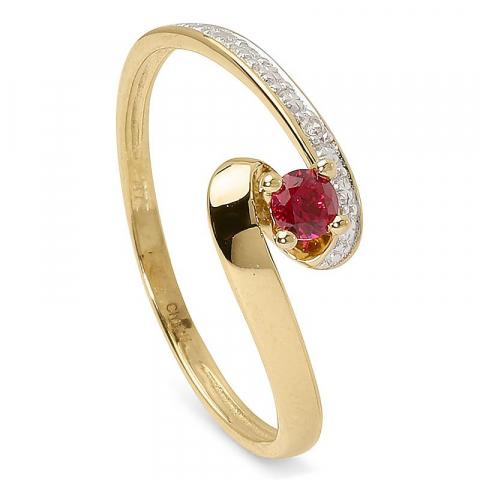 Elegant röd ring i 9 karat guld med rhodium