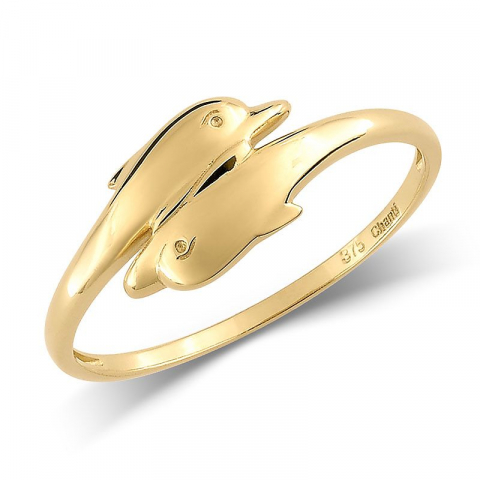 Enkel delfin guld ring i 9 karat guld