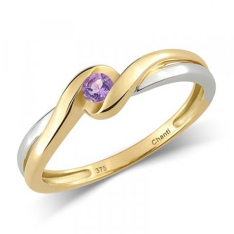Vacker lila ametist ring i 9 karat guld med rhodium