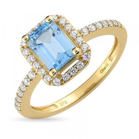 Stor blå topas ring i 9 karat guld