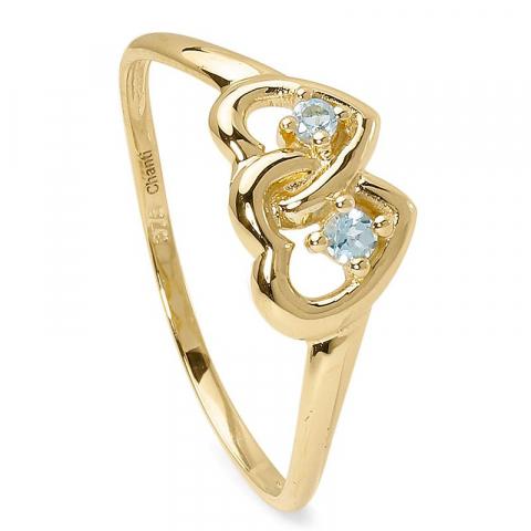 Fin hjärta topas ring i 9 karat guld