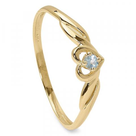 Elegant hjärta blå topas ring i 9 karat guld