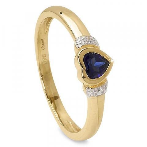 Blank hjärta blå ring i 9 karat guld med rhodium