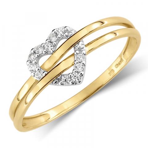 hjärta zirkon ring i 9 karat guld