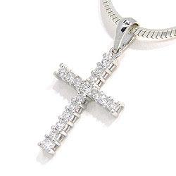 Kors diamantberlocker i 14  carat vitguld 0,28 ct