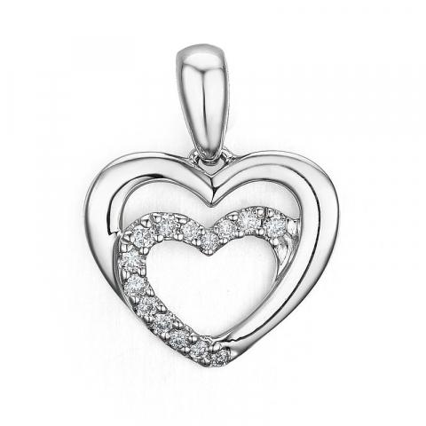 Diamant hjärthängen i 14  carat vitguld 0,08 ct