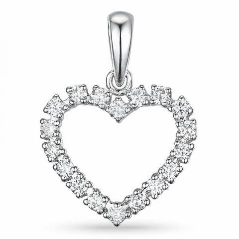 Hjärta diamantberlocker i 14  carat vitguld 0,39 ct