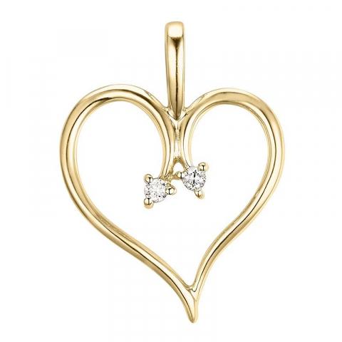 Hjärta diamant hängen i 14  carat guld 0,03 ct