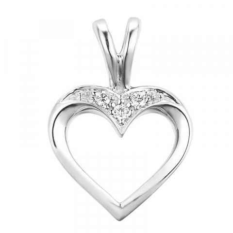 Hjärta briljantberlocker i 14  carat vitguld 0,02 ct