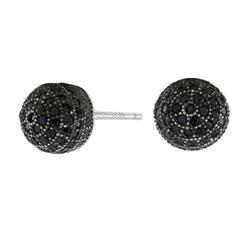 Joanli Nor kula örhängen i svart rhodinerat silver svart zirkon