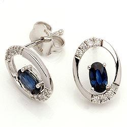 Safir örhängestift i 14 karat vitguld med diamanter och safirer