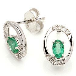 Smaragd örhängestift i 14 karat vitguld med diamanter och smaragder