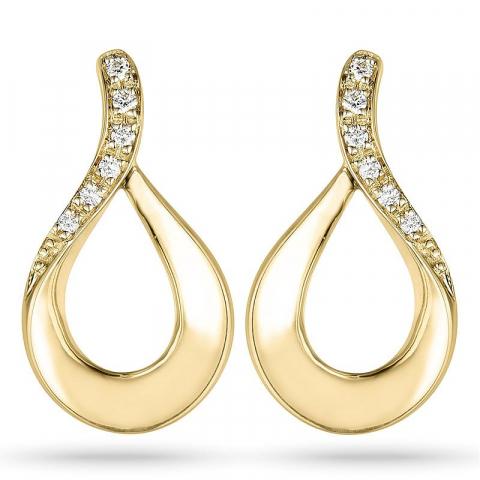 diamant örhängestift i 14 karat guld med diamant