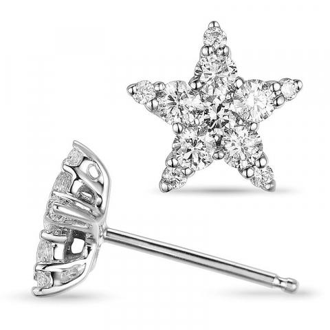 stjärna diamant örhängestift i 14 karat vitguld med diamant