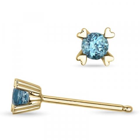 Blå topas örhängen i 14 karat guld med topaser
