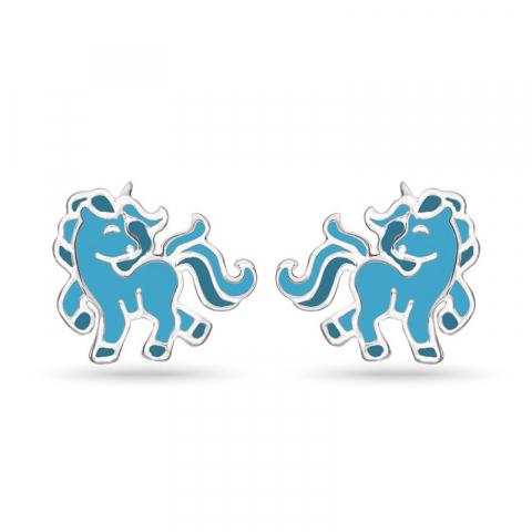 Støvring Design enhörning örhängen i silver blå emalj