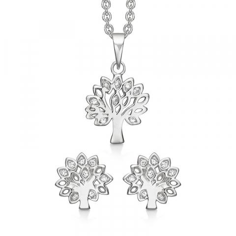 vackert Støvring Design livets träd set med örhängen och halsband i silver vit zirkon