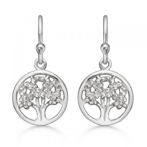 långt Støvring Design livets träd örhängen i silver