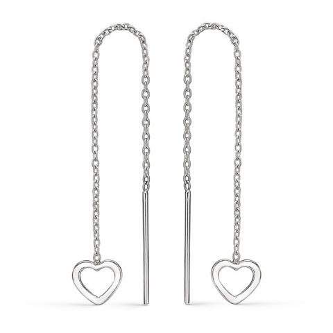 långt Støvring Design hjärta örhängen i silver