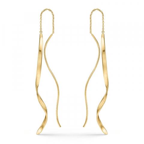 långa Støvring Design örhängen i förgyllt silver