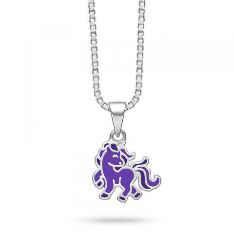 Støvring Design enhörning halskedja med berlocker i silver lila emalj