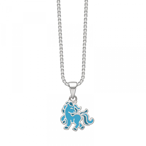 Støvring Design enhörning halskedja med berlocker i silver blå emalj